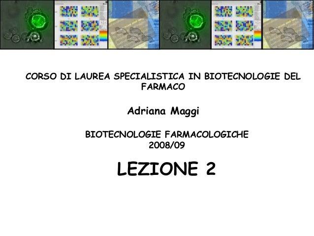 BIOTECNOLOGIE FARMACOLOGICHE 2008/09 LEZIONE 2 CORSO DI LAUREA SPECIALISTICA IN BIOTECNOLOGIE DEL FARMACO Adriana Maggi