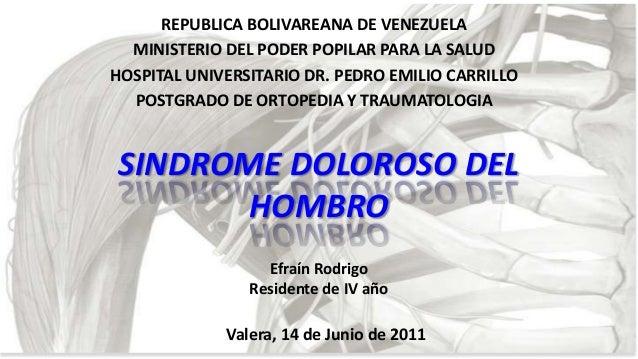 REPUBLICA BOLIVAREANA DE VENEZUELA MINISTERIO DEL PODER POPILAR PARA LA SALUD HOSPITAL UNIVERSITARIO DR. PEDRO EMILIO CARR...