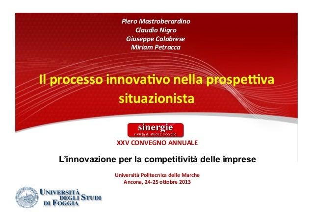 Sinergie 2013 Il processo innovativo nella prospettiva situazionista