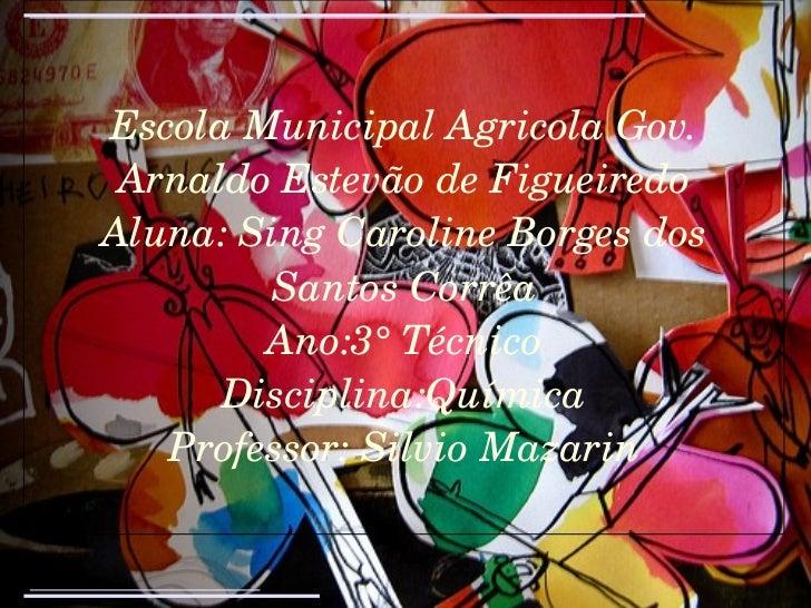 Escola Municipal Agricola Gov. Arnaldo Estevão de Figueiredo Aluna: Sing Caroline Borges dos Santos Corrêa Ano:3° Técnico ...