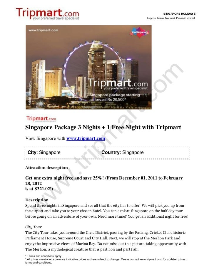 SINGAPORE HOLIDAYS                                                                                                 Tripcos...