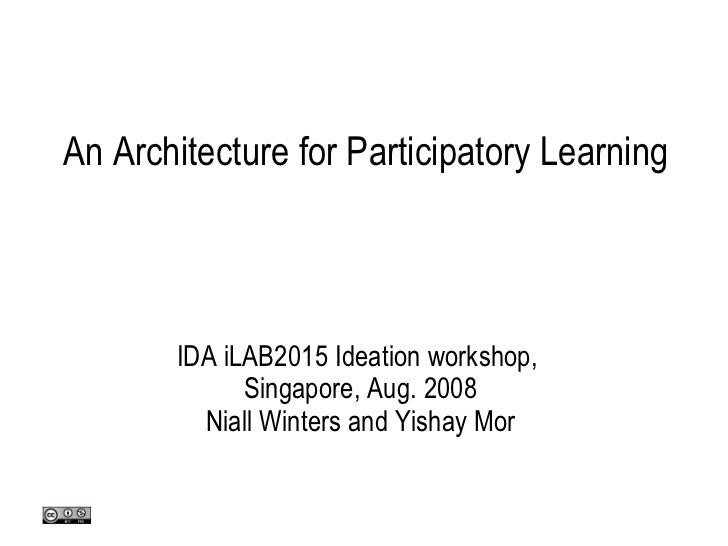 An Architecture for Participatory Learning IDA iLAB2015 Ideation workshop,  Singapore, Aug. 2008 Niall Winters and Yishay ...