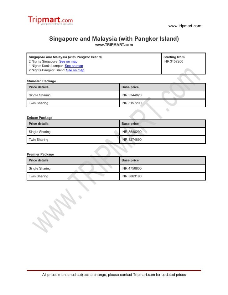 Singapore and Malaysia (with pangkor island)