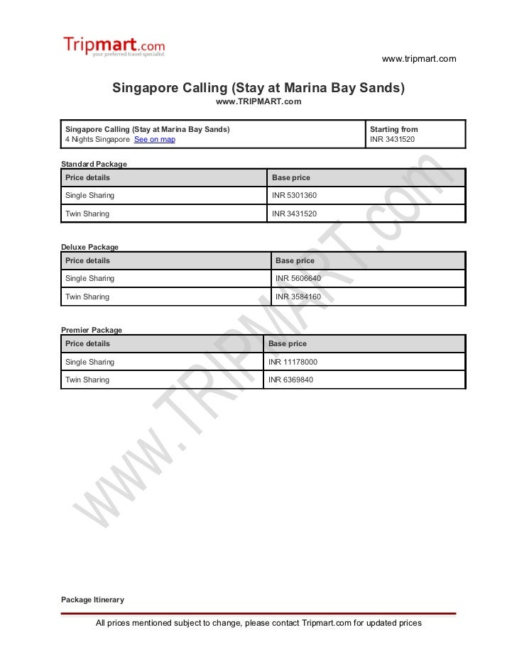 Singapore calling (stay at marina bay sands)
