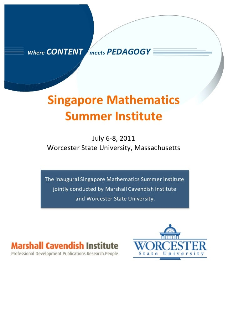 MCI-Worchester State University Singapore Math Summer Institute