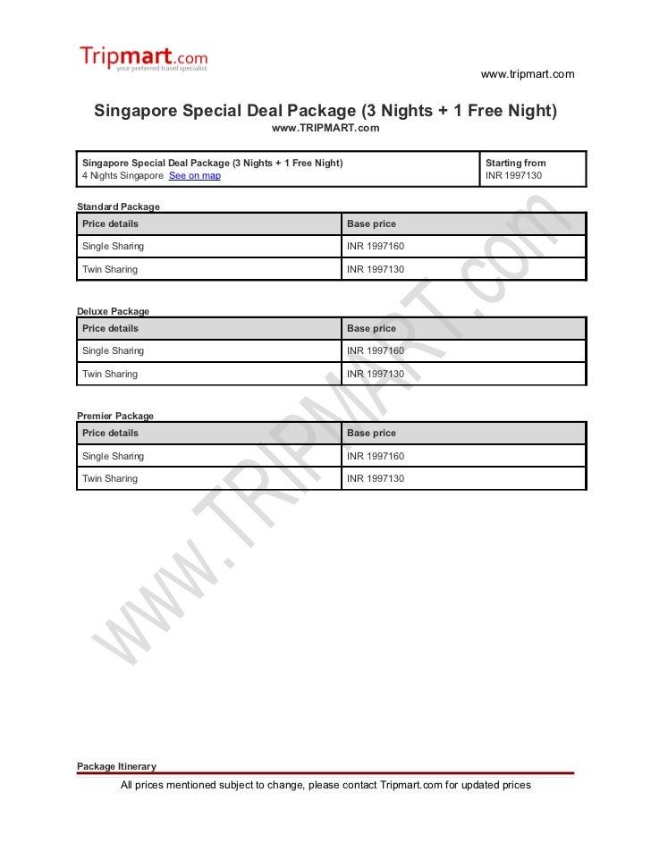 Singapore special deal package (3 nights + 1 free night)