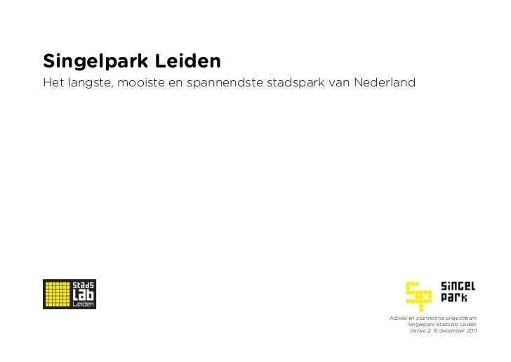 Startnotitie Team Singelpark Stadslab Leiden
