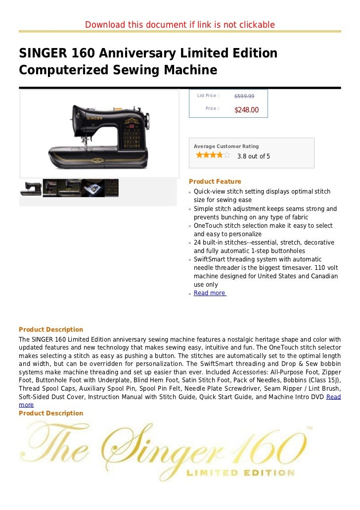 Download this document if link is not clickableSINGER 160 Anniversary Limited EditionComputerized Sewing Machine          ...