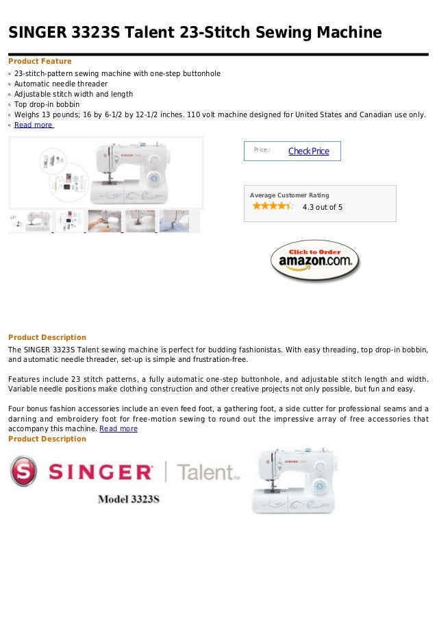 Singer 3323 s talent 23 stitch sewing machine