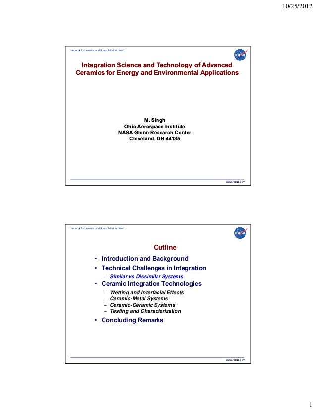 10/25/2012  National Aeronautics and Space Administration  Integration Science and Technology of Advanced Ceramics for Ene...
