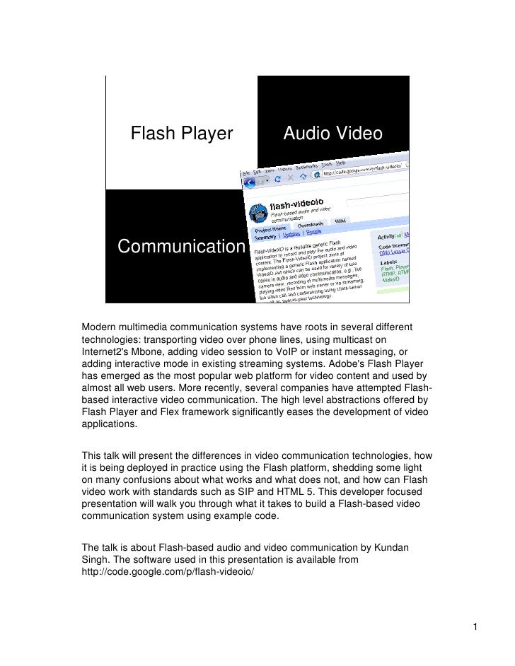 Flash-based audio and video communication