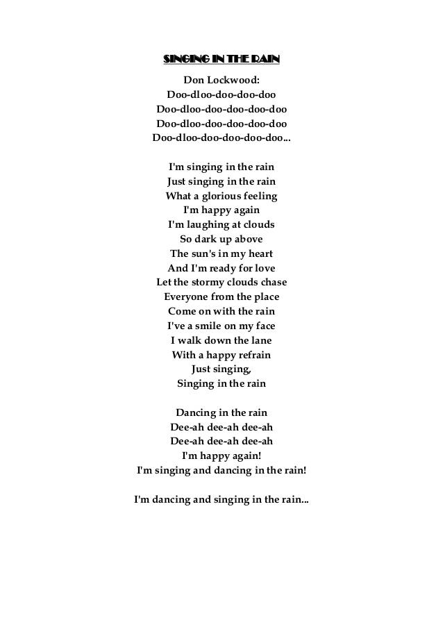 Singing in the rain lyric
