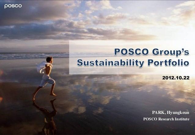 POSCO Group's Sustainability Portfolio Presentation at Singapore-Korea Business Roundtable 2012