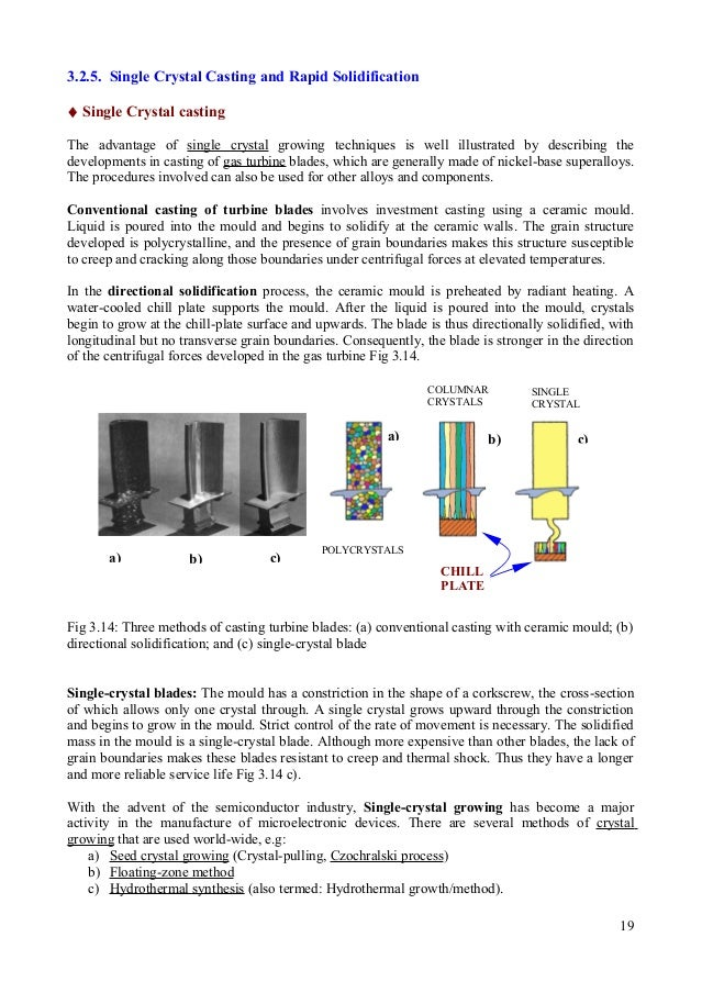 3.2.5. Single Crystal Casting and Rapid Solidification ♦ Single Crystal casting The advantage of single crystal growing te...
