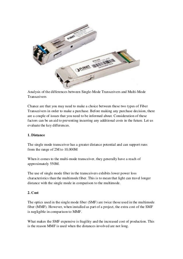 single mode and multimode fiber pdf