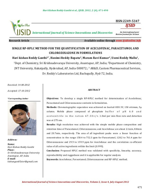 Hari Kishan Reddy Ganthi et al., IJSID, 2012, 2 (4), 471-490                                                              ...
