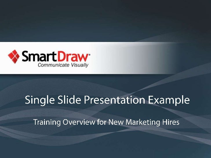 Single Slide Presentation Example: Training Overview for New Marketing Hires