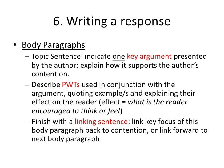 Analytical summary essays- possible arguments