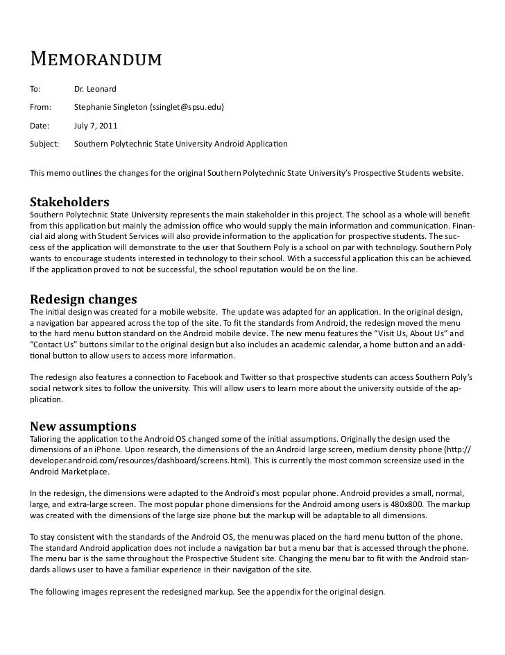 MemorandumTo:         Dr. LeonardFrom:       Stephanie Singleton (ssinglet@spsu.edu)Date:       July 7, 2011Subject:    So...