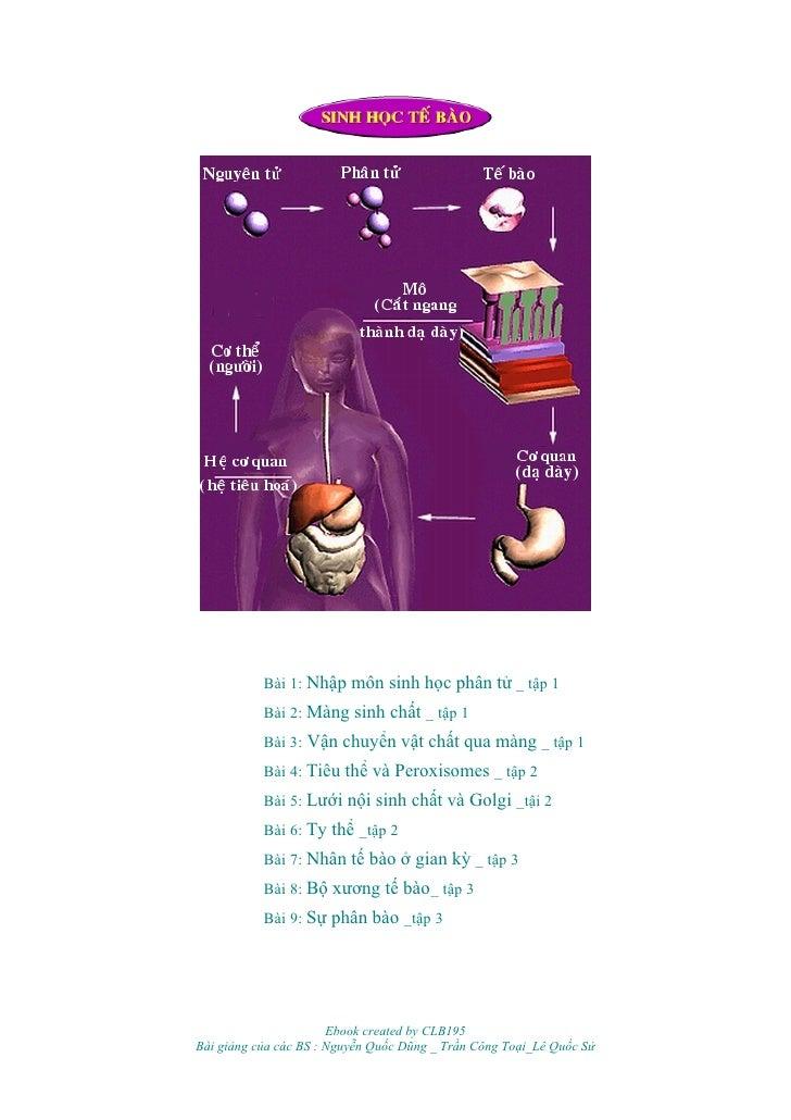 Bài 1: Nhập môn sinh học phân tử _ tập 1            Bài 2: Màng sinh chất _ tập 1            Bài 3: Vận chuyển vật chất qu...