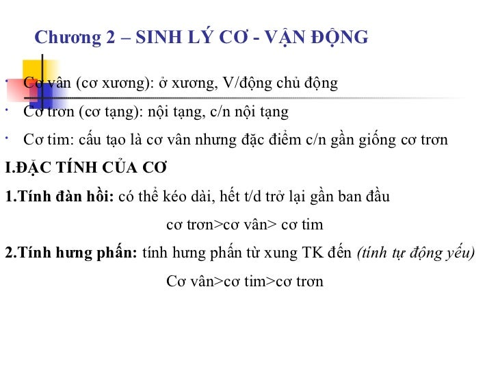 Sinh ly co vandong