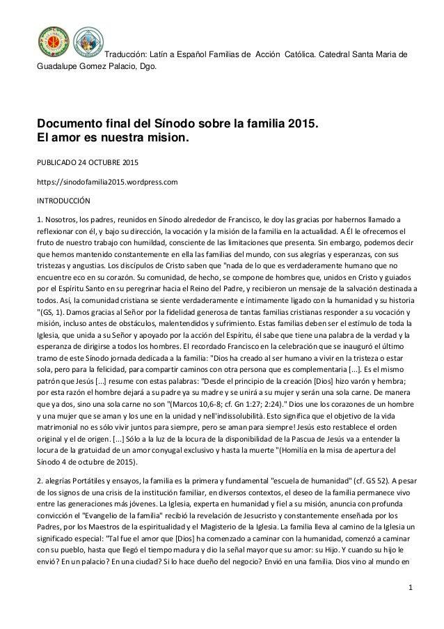 Traducción: Latín a Español Familias de Acción Católica. Catedral Santa Maria de Guadalupe Gomez Palacio, Dgo. 1 Documento...