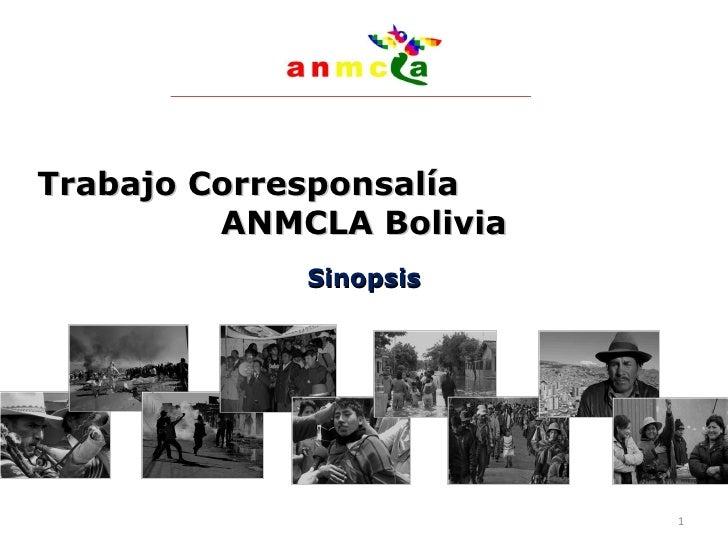 Trabajo Corresponsalía  ANMCLA Bolivia Sinopsis