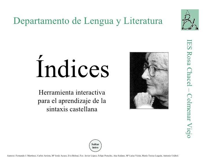 Departamento de Lengua y Literatura IES Rosa Chacel – Colmenar Viejo Índices Herramienta interactiva para el aprendizaje d...