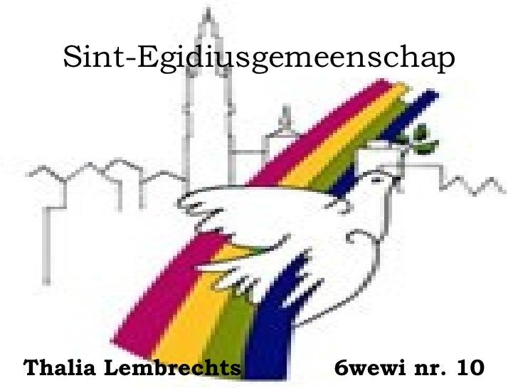 Sint-Egidiusgemeenschap Thalia   Lembrechts 6wewi nr. 10