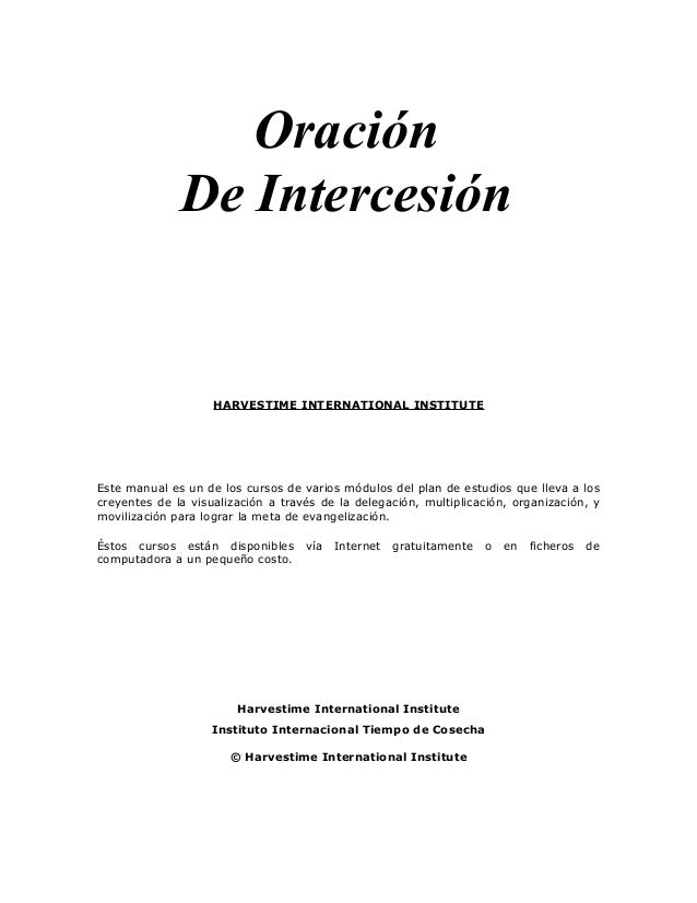 Manual Oracion de Intercesion - Harvestime Institute