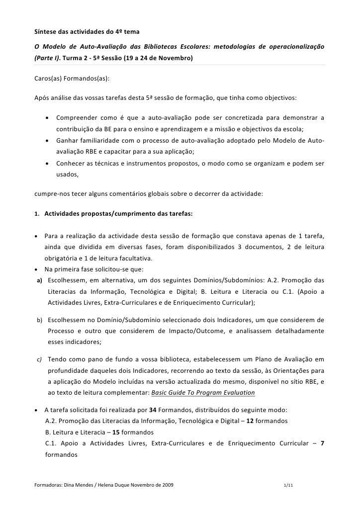 Síntesedasactividadesdo4ºtema  O Modelo de Auto‐Avaliação das Bibliotecas Escolares: metodologias de operac...