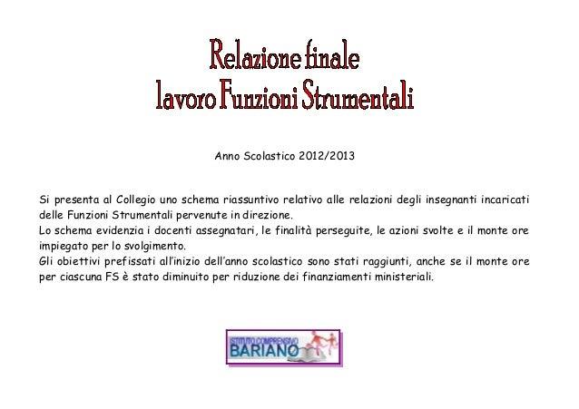 Anno Scolastico 2012/2013Si presenta al Collegio uno schema riassuntivo relativo alle relazioni degli insegnanti incaricat...
