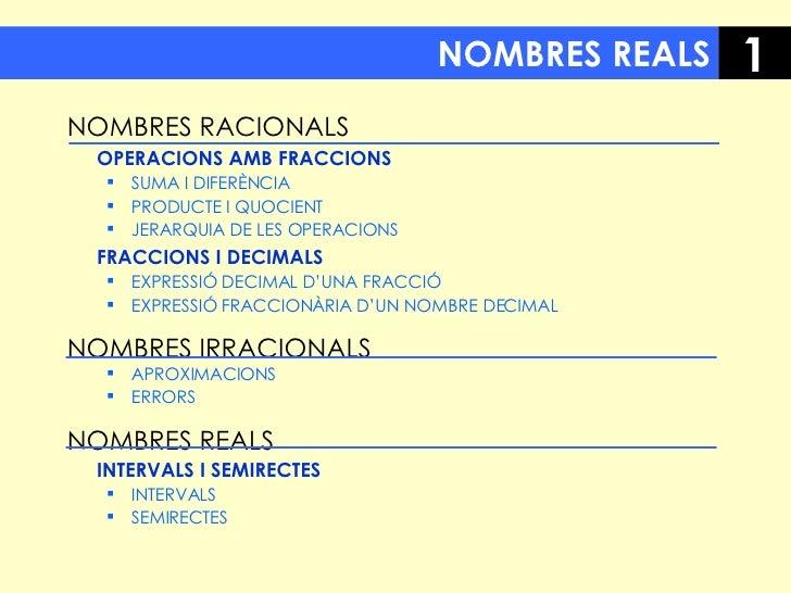 NOMBRES REALS <ul><li>NOMBRES RACIONALS </li></ul><ul><li>OPERACIONS AMB FRACCIONS </li></ul><ul><ul><li>SUMA I DIFERÈNCIA...