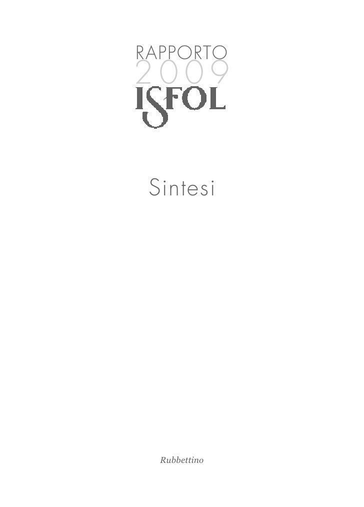 ISFOL, sintesi 2009 Rapporto