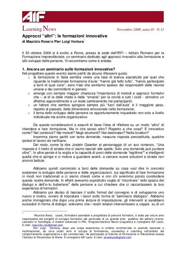 Sintesi   Aif Learning News   Nov 2008
