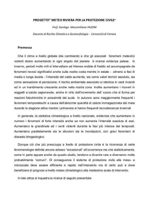 """PROGETTO"""" METEO RIVIERA PER LA PROTEZIONE CIVILE""""                             Prof. Geologo Massimiliano FAZZINI          ..."""
