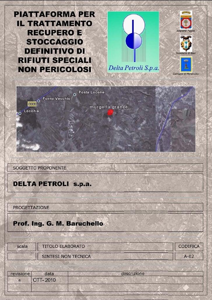 Regione Puglia - Provincia di BAT – Comune di Minervino Murge                           1Piattaforma per il trattamento, l...