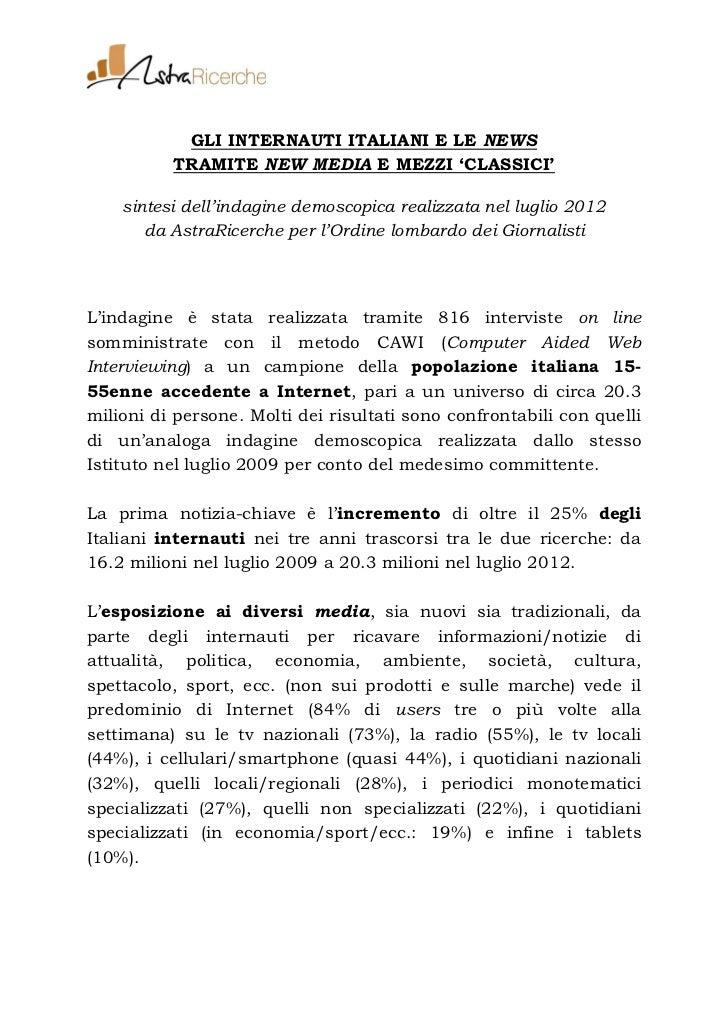 Gli internauti italiani e le news