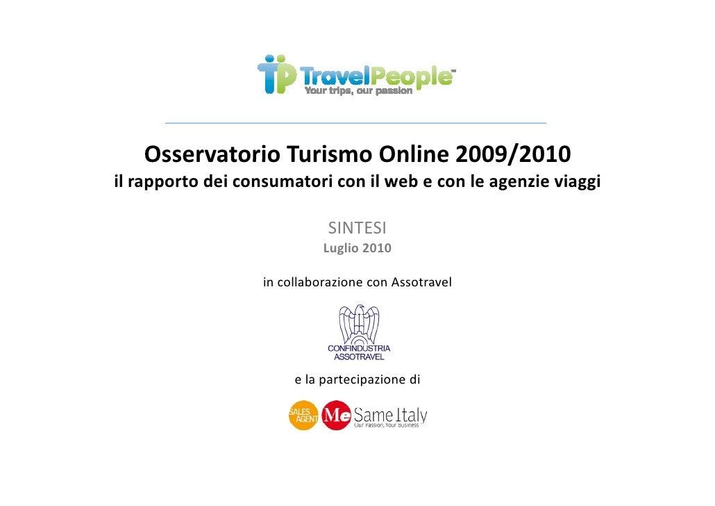Osservatorio Turismo Online 2009/2010 : Sintesi