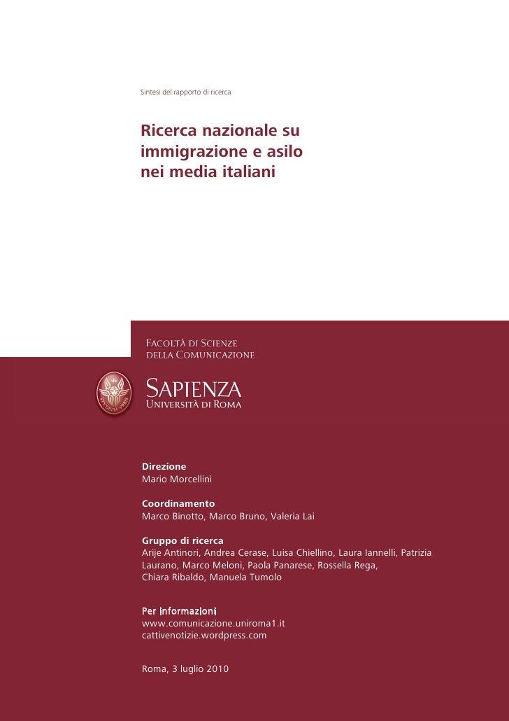 Sintesi Ricerca Immigrazione e Asilo sui Media Italiani v3.2