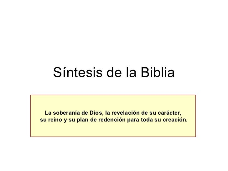 Sintesis De La Biblia