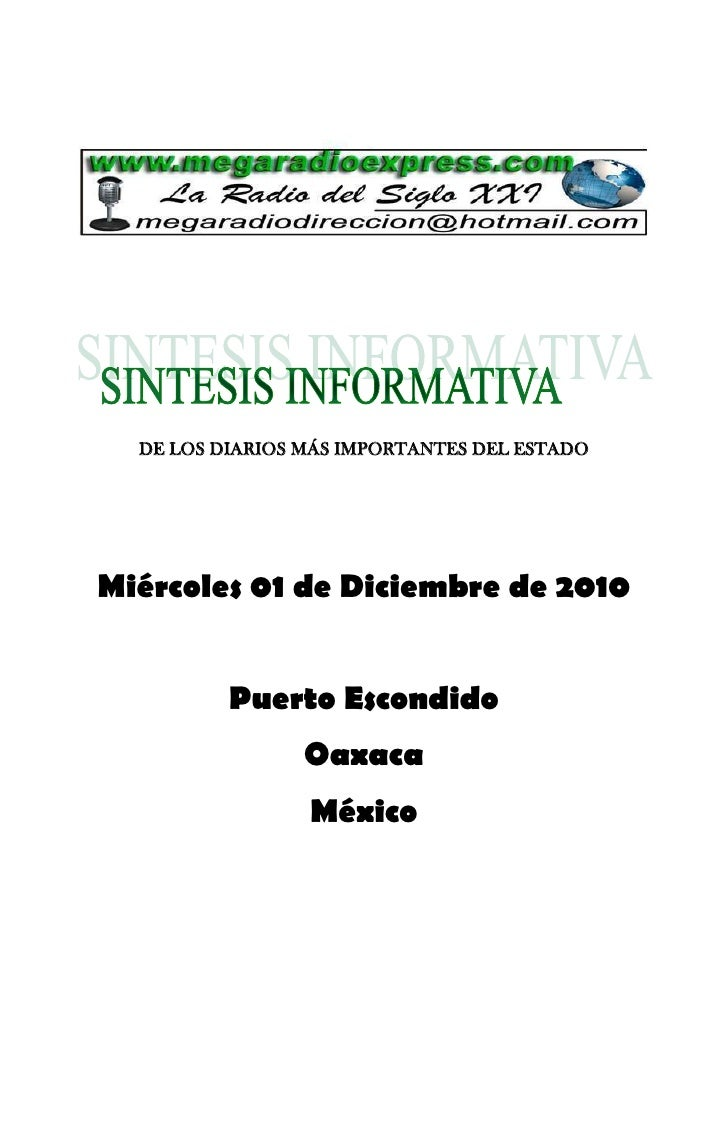 DE LOS DIARIOS MÁS IMPORTANTES DEL ESTADOMiércoles 01 de Diciembre de 2010          Puerto Escondido                 Oaxac...