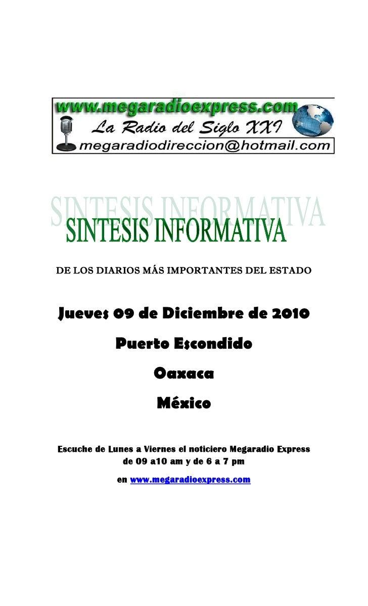 DE LOS DIARIOS MÁS IMPORTANTES DEL ESTADOJueves 09 de Diciembre de 2010             Puerto Escondido                     O...