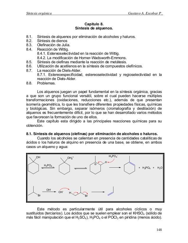 Síntesis orgánica Gustavo A. Escobar P_Capitulo 8.Síntesis de alquenos.8.1. Síntesis de alquenos por eliminación de alcoho...
