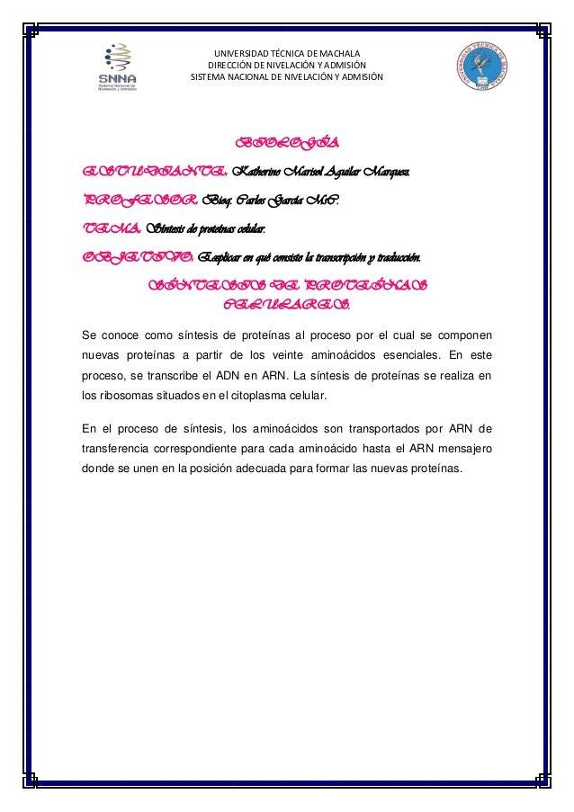 UNIVERSIDAD TÉCNICA DE MACHALA DIRECCIÓN DE NIVELACIÓN Y ADMISIÓN SISTEMA NACIONAL DE NIVELACIÓN Y ADMISIÓN  BIOLOGÍA ESTU...