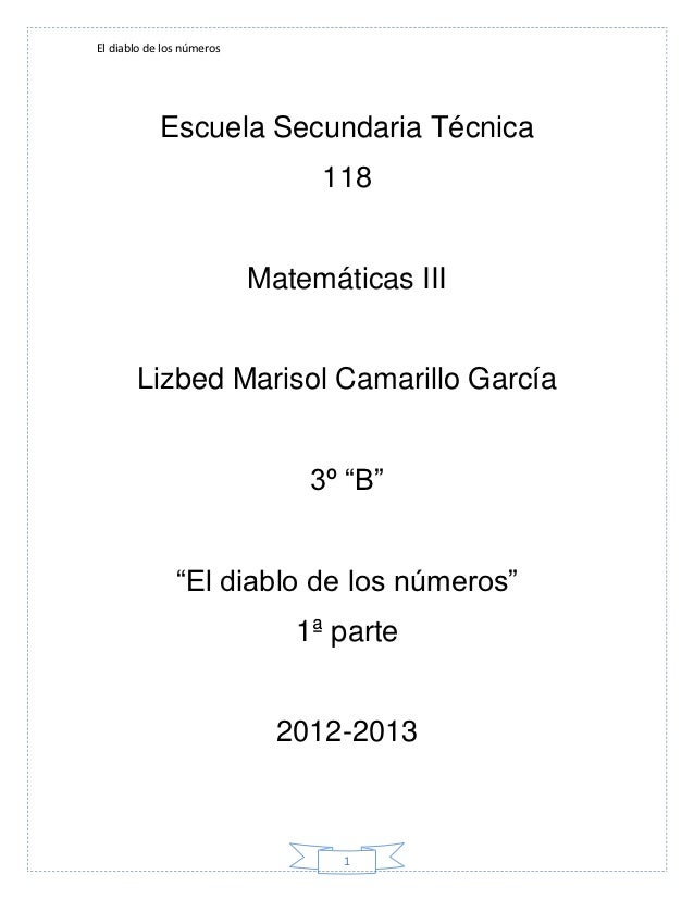 El diablo de los números            Escuela Secundaria Técnica                                118                         ...