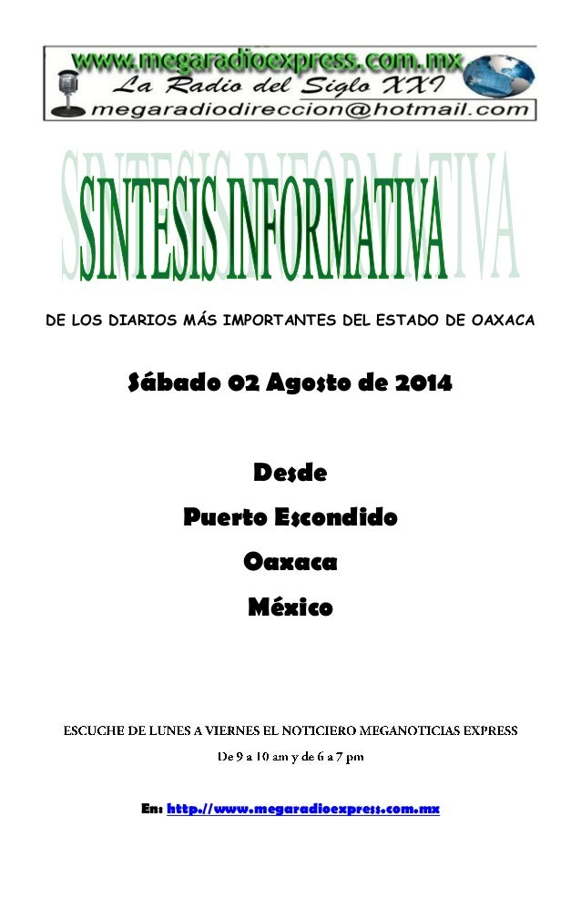Sintesis informativa 02 08 2014