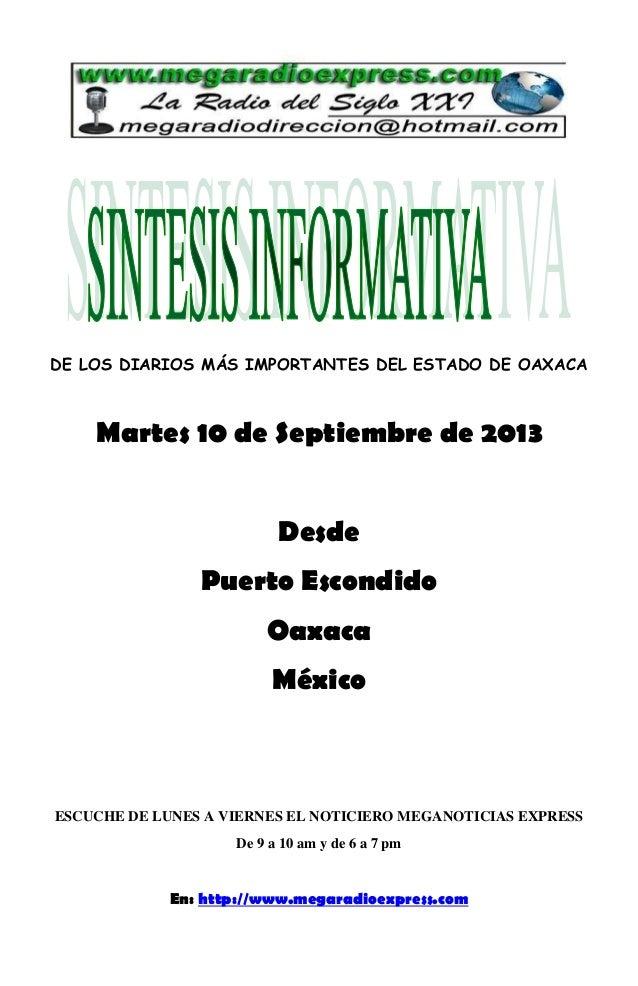 Sintesis informativa 10 de septiembre 2013