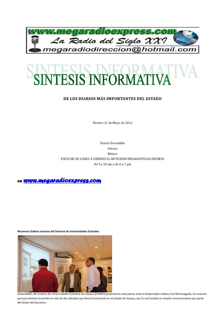 DE LOS DIARIOS MÁS IMPORTANTES DEL ESTADO                                                          Viernes 11 de Mayo de 2...