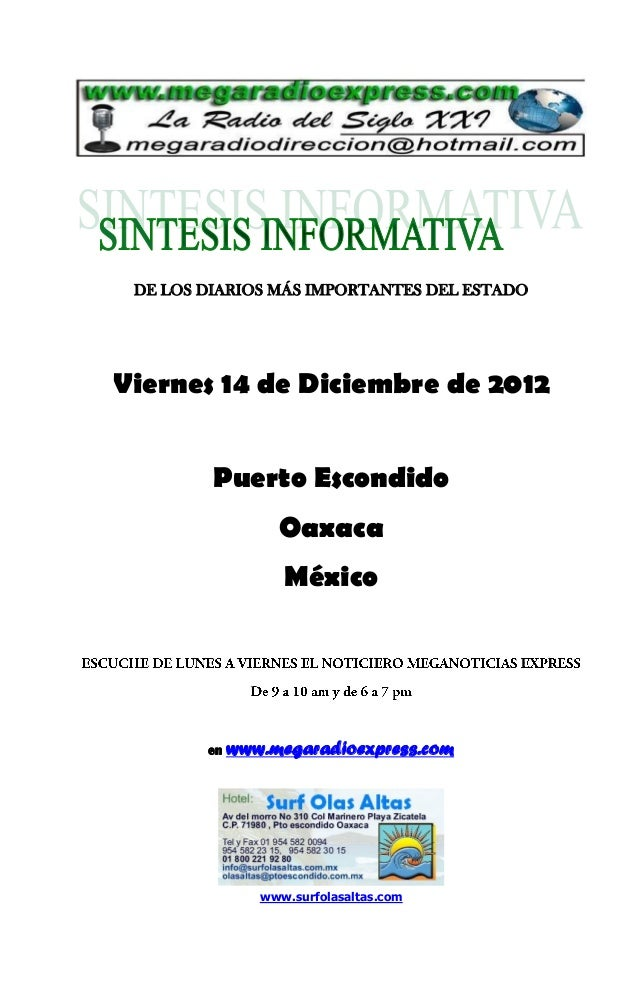 Sintesis informativa 14 12 2012
